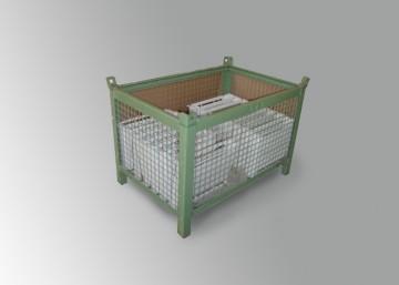 Contenitore cesta in rete con slitta lato corto
