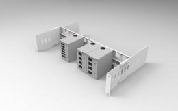 Supporto 19HE barra DIN per mini cassetti ottici