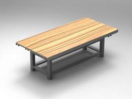 Tavolo da lavoro con piano in legno