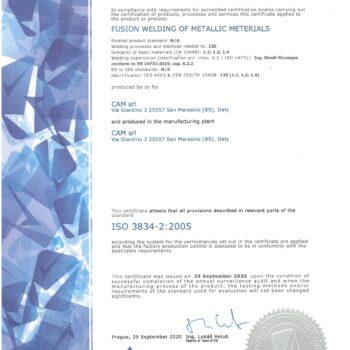 CERTIFICAZIONE  ISO 3834-2:2005