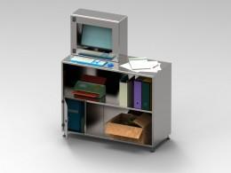 Armadio porta computer con piano in acciaio INOX