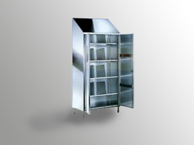 Armadio portaoggetti a ripiani inclinati in acciaio inox cam arredamenti metallici e strutture - Portaoggetti armadio ...